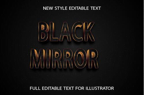 Black mirror golden 3d text effect vector