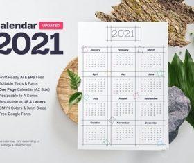 Blocky calendar 2021 vector