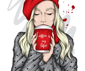 Blond girl drinking coffee vector