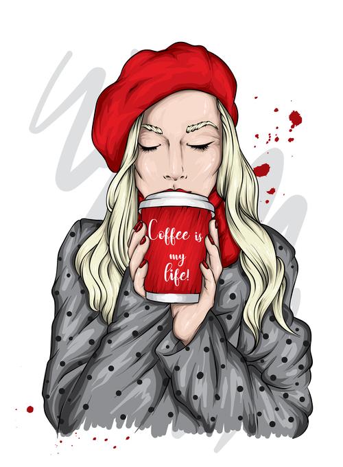 Blond girl drinking coffee vector