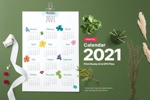 Blossom calendar 2021 vector