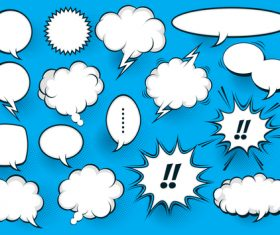 Blue background comic white bubbles vector