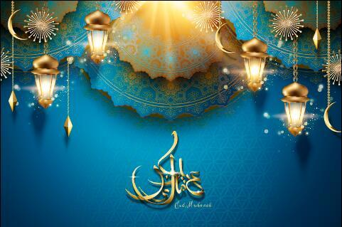 Blue background golden lights Eid mubarak card vector