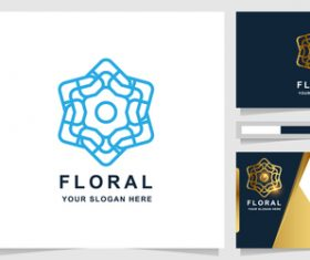 Blue floral cover company logo design vector