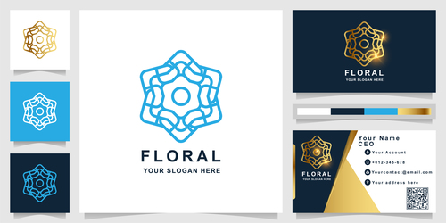Blue floral cover company logo design vector