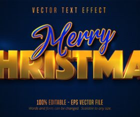 Blue gold editable font effect vector