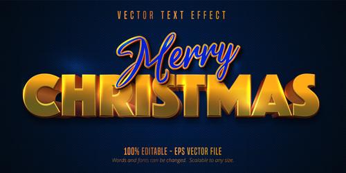 Blue gold editable font effect vector