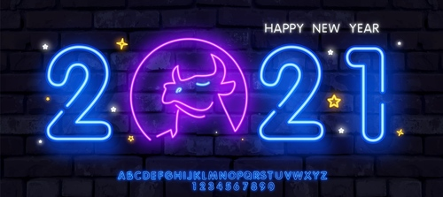 Blue pink neon signboard 2021 new year vector