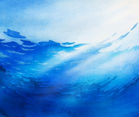 Blue sea water watercolor illustrations vector