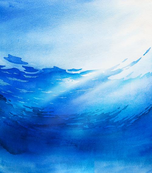 Blue sea water watercolor illustrations vector