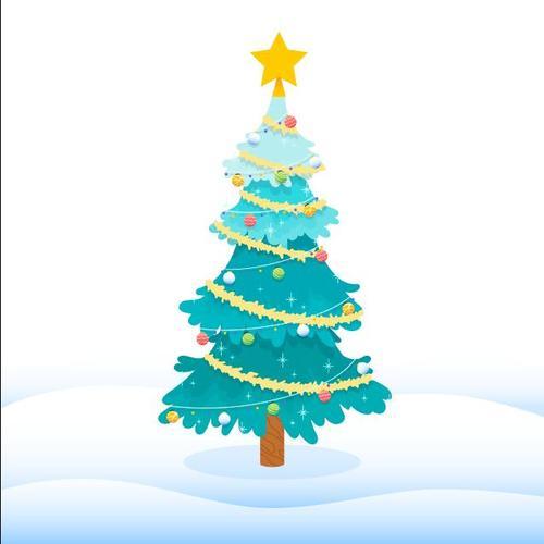 Blue winter christmas tree vector
