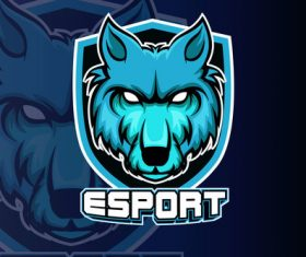Blue wolf head esports logo vector
