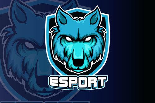 Blue wolf head esports logo vector