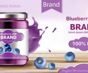 Blueberry jam brand vector