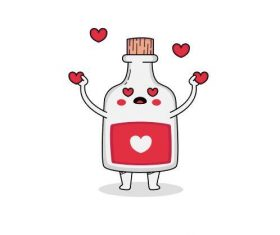 Bottle launching love cartoon vector