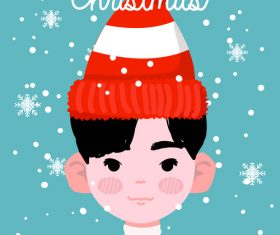 Boy wearing red knitted hat vector