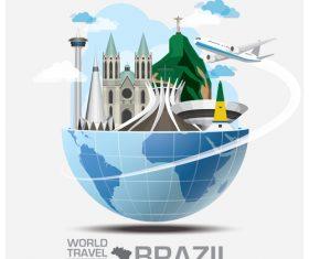 Brazil famous tourist attractions concept vector