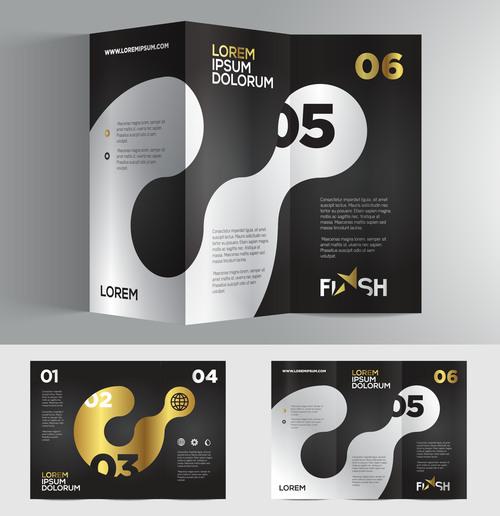 Brochure number golden black vector