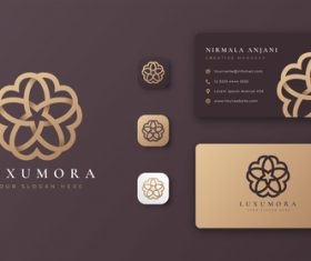 Brown mandala logo company business card vector