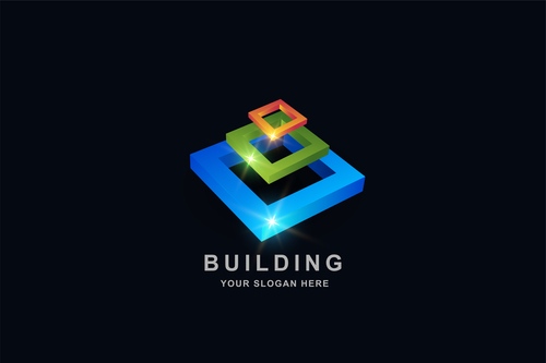 Building 3d square pattern design vector