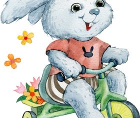 Bunny riding a tricycle watercolor illustration vector