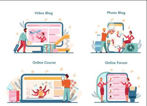 Business online service cartoon illustration vector
