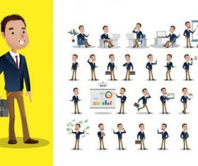 Business person cartoon vector in different poses