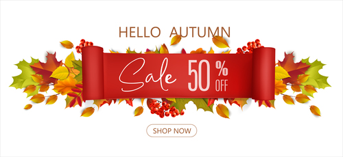 Business promotion autumn poster vector