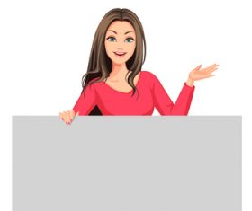 Business woman with gray blank board vector