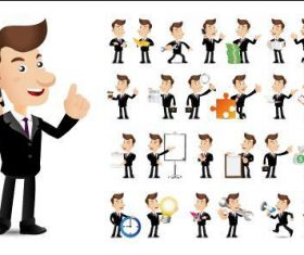 Businessman cartoon vector in different poses