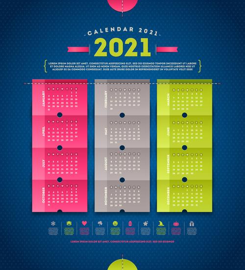 Calendar for 2021 year vector