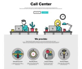 Call Center flat graphic concept vector