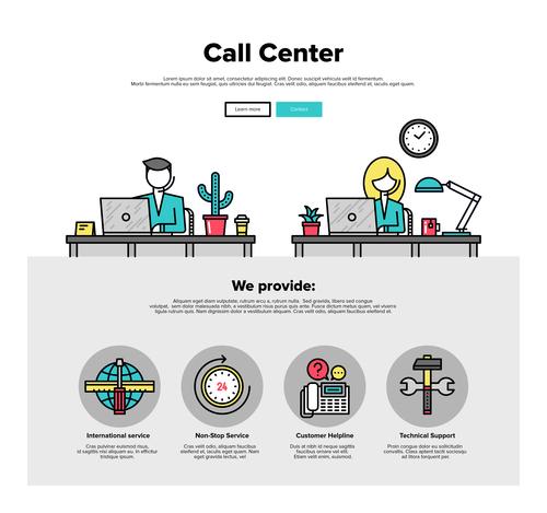 Call Center flat graphic concept vector