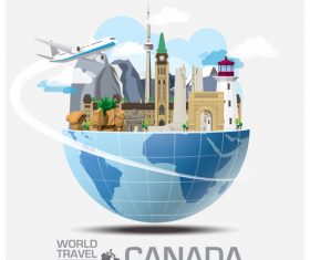 Canada famous tourist attractions concept vector