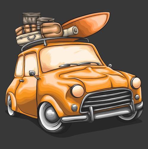 Car hand drawn illustration vector