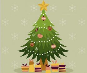 Cartoon Christmas tree and gifts vector