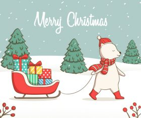 Cartoon animal christmas card vector
