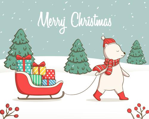 Cartoon animal christmas card vector