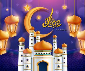 Cartoon background eid mubarak vector