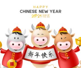 Cartoon cow 2021 new year greeting card vector