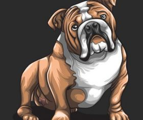 Cartoon hand drawn bulldog vector