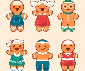 Cartoon happy gingerbread flat vector