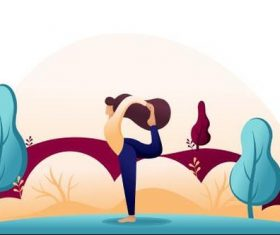 Cartoon illustration of a woman practicing yoga vector