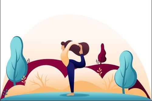 Cartoon illustration of a woman practicing yoga vector