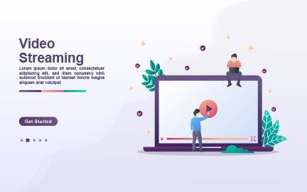 Cartoon illustration video streaming vector