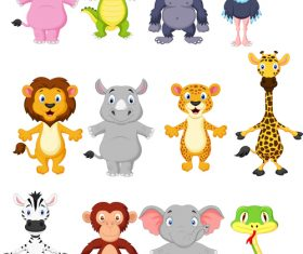 Cartoon look at the drawing to recognize animals vector