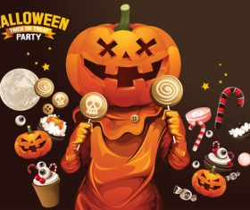 Cartoon pumpkin man eating candy vector