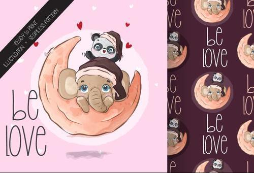 Cartoon seamless background baby elephant and panda vector