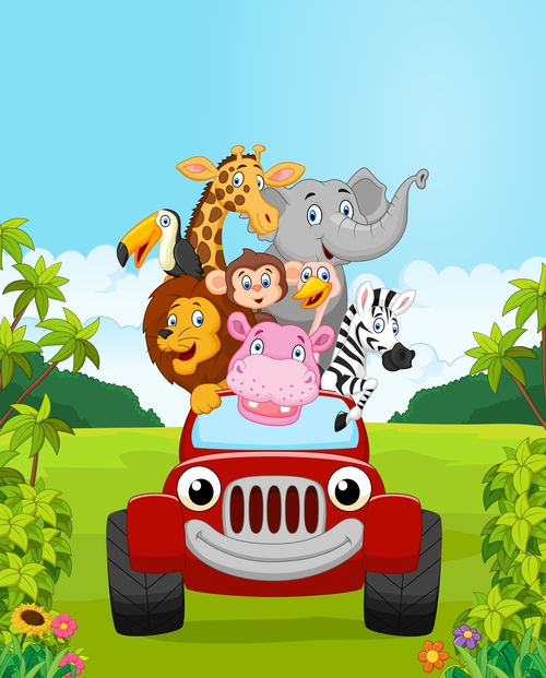 Cartoon vector of animals traveling by car