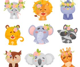 Cartoon vector of various animals wearing flowers